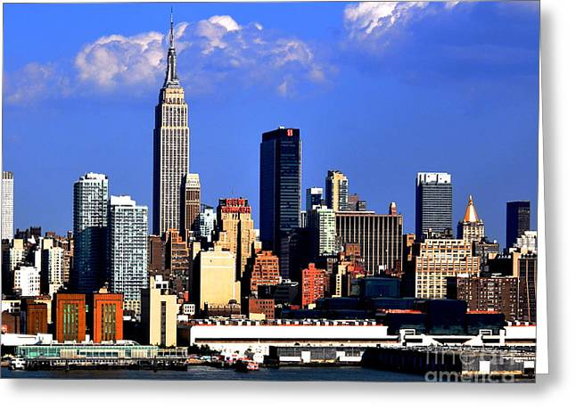 New Mind Greeting Cards - New York City Skyline with Empire State Greeting Card by Kathy Flood