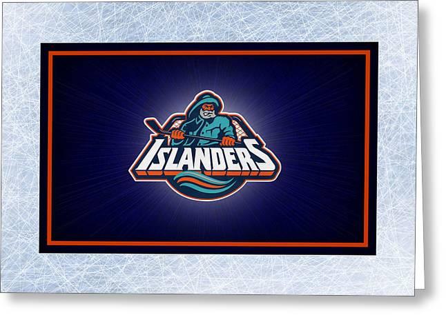 Skating Greeting Cards - New York Islanders Greeting Card by Joe Hamilton