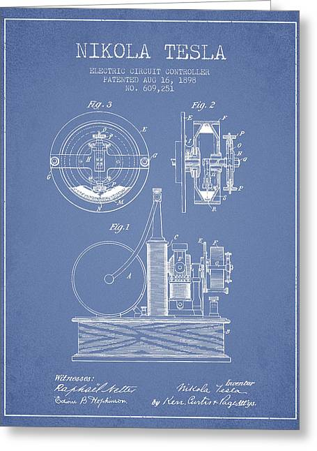Electricity Greeting Cards - Nikola Tesla Electric Circuit Controller Patent Drawing From 189 Greeting Card by Aged Pixel