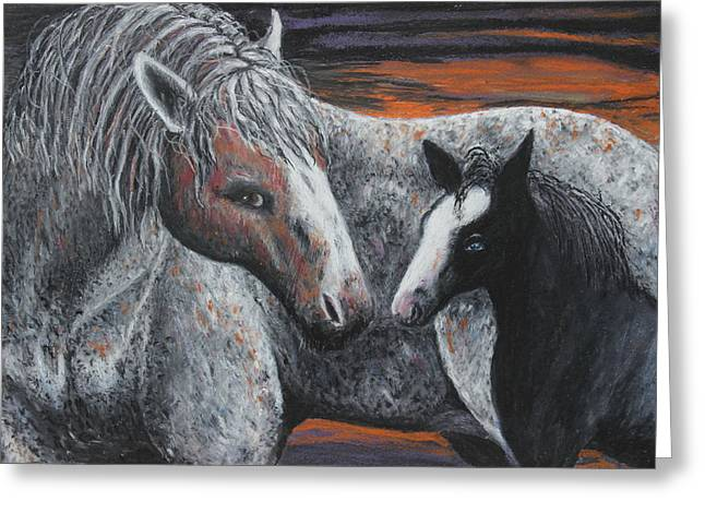 Dust Pastels Greeting Cards - Nokota Baby Greeting Card by Jeanne Fischer