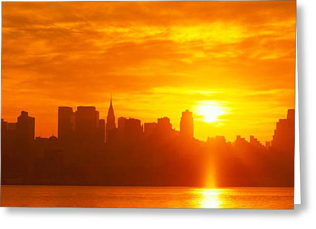 Sun Flare Greeting Cards - Nyc, New York City New York State, Usa Greeting Card by Panoramic Images