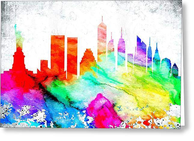 Town Mixed Media Greeting Cards - Nyc Skyline Greeting Card by Daniel Janda
