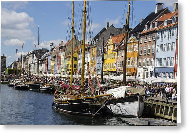 Wooden Ship Photographs Greeting Cards - Nyhavn - Copenhagen Denmark Greeting Card by Jon Berghoff