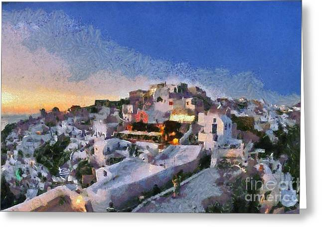 Santorini Greeting Cards - Oia town during sunset Greeting Card by George Atsametakis