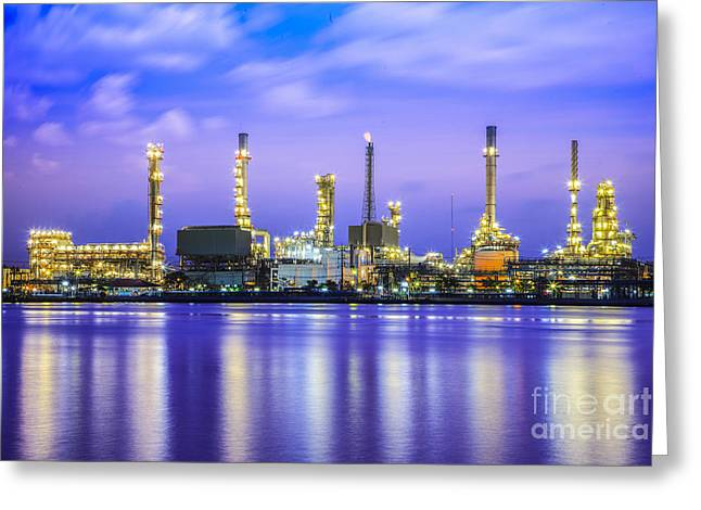 Polluting Greeting Cards - Oil Refinery Plant Greeting Card by Anek Suwannaphoom