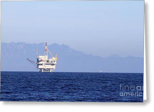 Sea Platform Greeting Cards - Oil Rig Greeting Card by Henrik Lehnerer