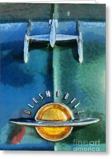 Vintage Hood Ornament Paintings Greeting Cards - 1951 Oldsmobile 98 Deluxe Holiday Sedan Greeting Card by George Atsametakis