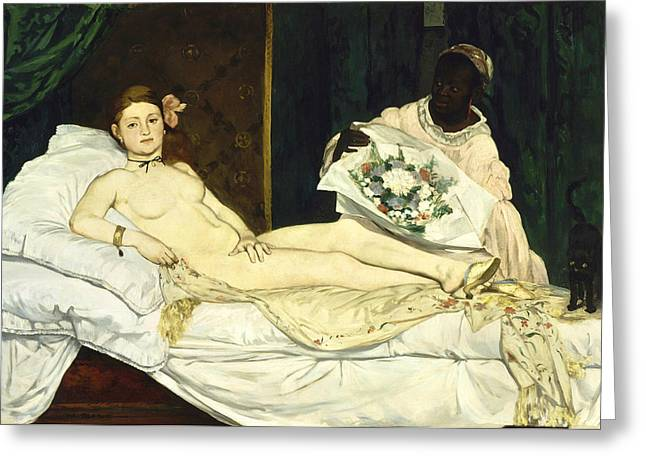 Historically Significant Greeting Cards - Olympia Greeting Card by Edouard Manet