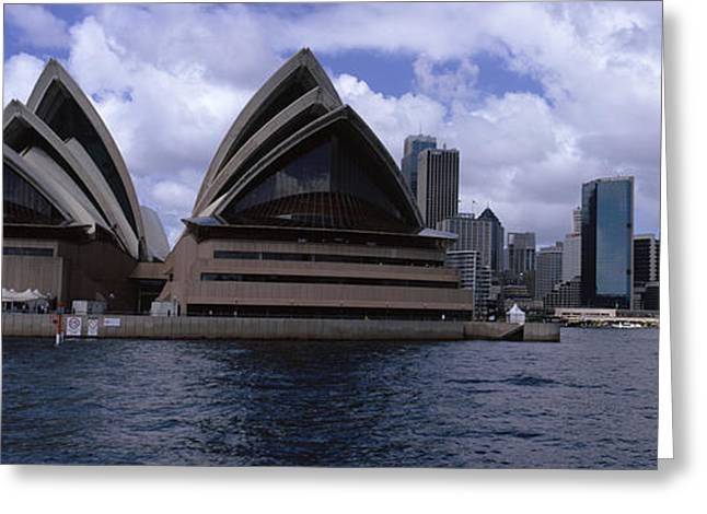 Arts Culture And Entertainment Greeting Cards - Opera House At The Waterfront, Sydney Greeting Card by Panoramic Images