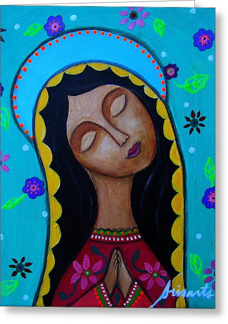 Turkus Greeting Cards - Our Lady Of Guadalupe Greeting Card by Pristine Cartera Turkus