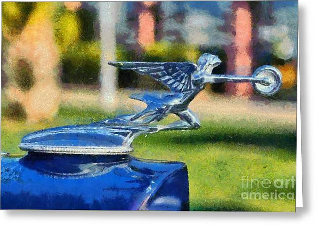 Car Mascot Paintings Greeting Cards - 1933 Packard Super Eight Greeting Card by George Atsametakis