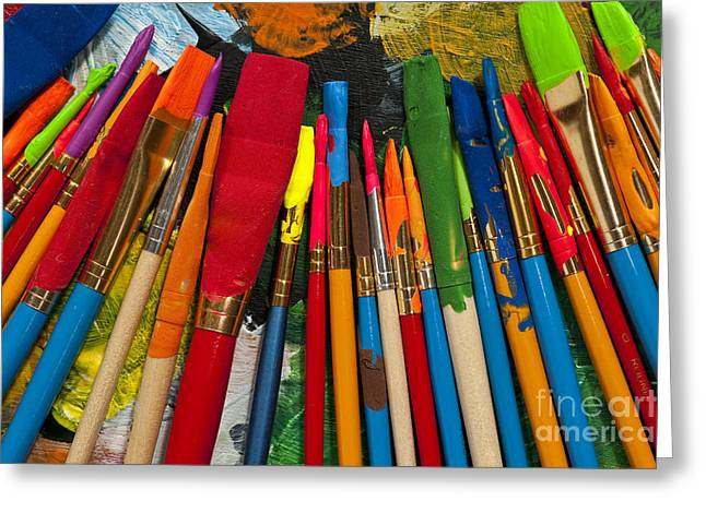 Acrylic Art Greeting Cards - Paintbrushes Lined Up On Palette Greeting Card by Jim Corwin