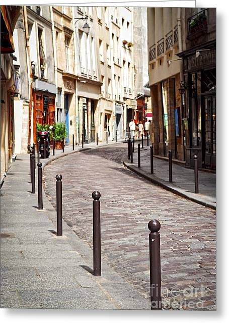 Cobblestone Greeting Cards - Paris street Greeting Card by Elena Elisseeva
