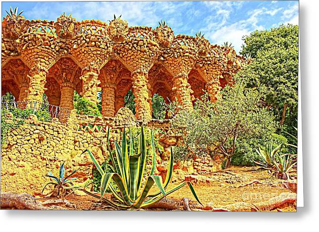 Catalunya Pyrography Greeting Cards - Park Guell Greeting Card by Dragomir Nikolov