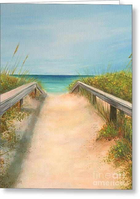 Sand Dunes Paintings Greeting Cards - Pass A Grille Beach Greeting Card by Gabriela Valencia