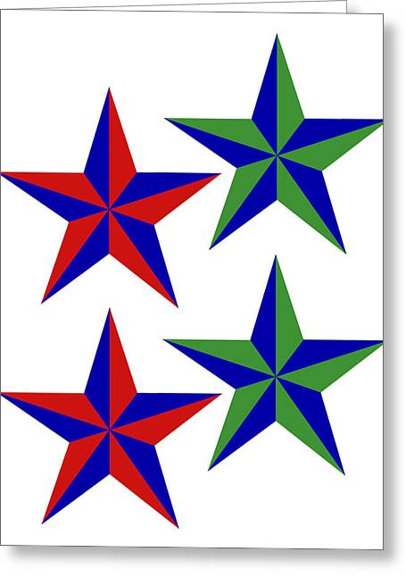 Patch Work Greeting Cards - 4 Patch Work Stars wish you a Merry Christmas in deep red and deep green Greeting Card by Asbjorn Lonvig