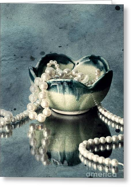 Jewelry Photographs Greeting Cards - Pearls Greeting Card by HD Connelly