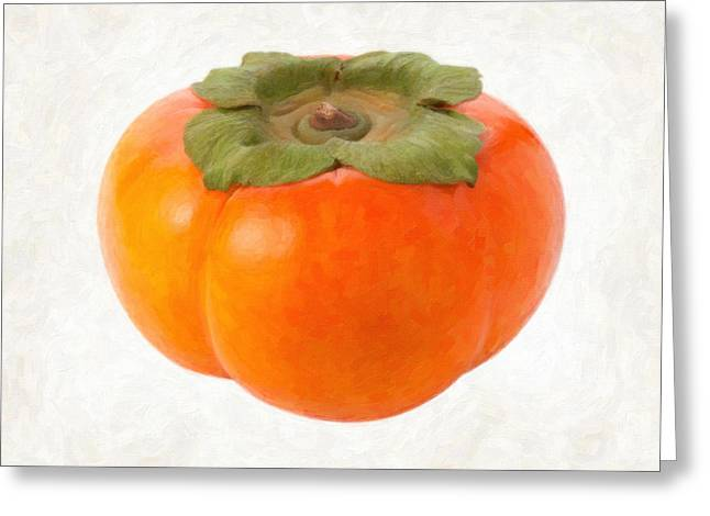 Single Object Paintings Greeting Cards - Persimmon Greeting Card by Danny Smythe