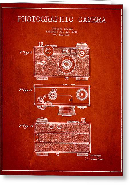Famous Photographers Greeting Cards - Photographic Camera Patent Drawing from 1938 Greeting Card by Aged Pixel