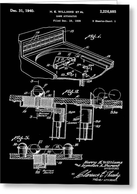 Pinball Machine Patent 1939 - Black Greeting Card by Stephen Younts