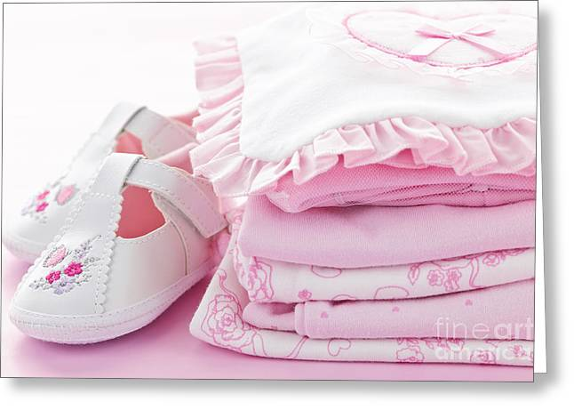 Pink Baby Clothes For Infant Girl Greeting Card by Elena Elisseeva