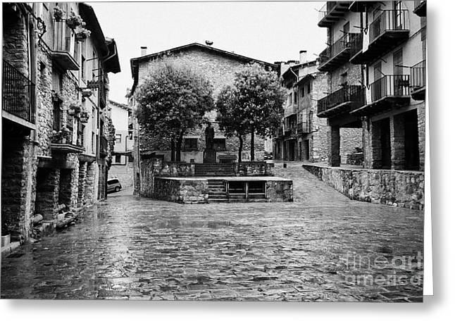 Town Square Greeting Cards - Placa Porxada Galceran De Pinos Arcaded Main Town Square In Medieval Baga Catalonia Spain Greeting Card by Joe Fox