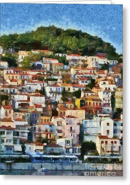 Lesvos Greeting Cards - Plomari town Greeting Card by George Atsametakis