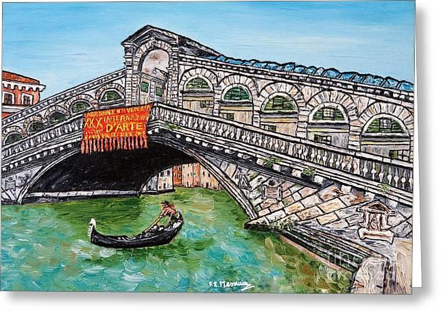 Famous Bridge Mixed Media Greeting Cards - Ponte di Rialto Greeting Card by Loredana Messina