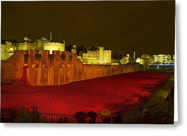 Chatham Greeting Cards - Poppies Tower of London night Greeting Card by David French