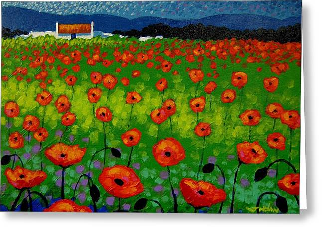 Landscape Posters Greeting Cards - Poppy Field Greeting Card by John  Nolan