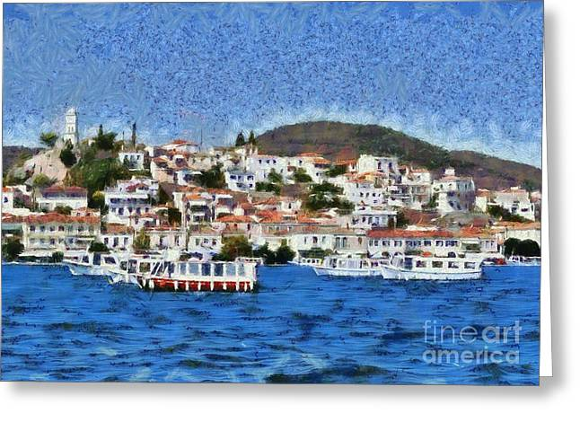 Poros Island Greeting Card by George Atsametakis