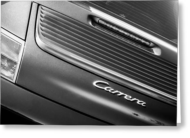 Black And White Image Greeting Cards - Porsche Carrera Rear Emblem Greeting Card by Jill Reger