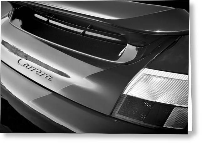 Black And White Image Greeting Cards - Porsche Carrera Taillight Emblem Greeting Card by Jill Reger