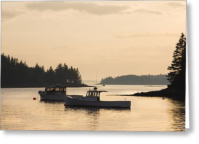 Maine Greeting Cards - Port Clyde Maine Fishing Boats At Sunset Greeting Card by Keith Webber Jr
