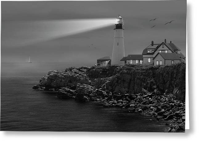 Flying Seagull Greeting Cards - Portland Head Lighthouse Greeting Card by Mike McGlothlen