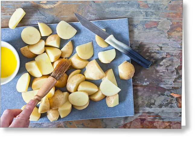 Roasting Greeting Cards - Potatoes Greeting Card by Tom Gowanlock