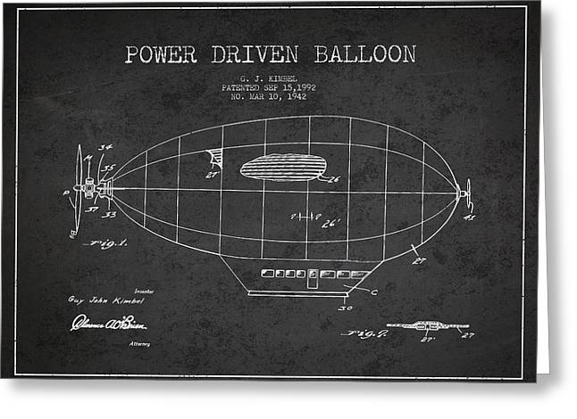 Airships Greeting Cards - Power Driven Balloon Patent Greeting Card by Aged Pixel