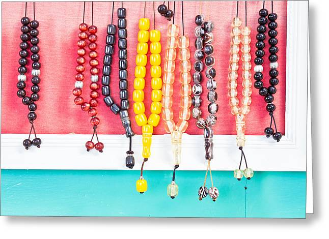 Prayer Beads Greeting Card by Tom Gowanlock