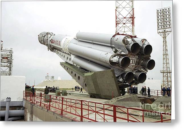 Enterprise Greeting Cards - Proton-m Rocket Before Launch Greeting Card by RIA Novosti