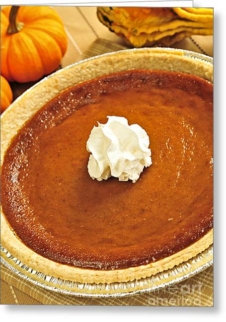 Uncut Greeting Cards - Pumpkin pie Greeting Card by Elena Elisseeva
