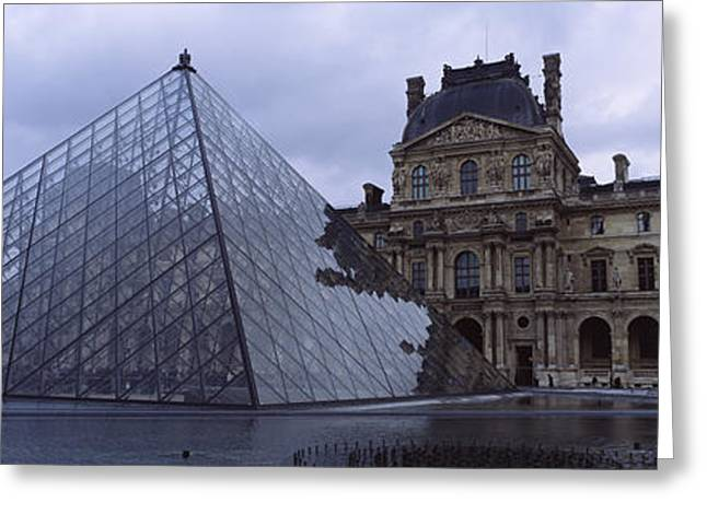 Mediterranean Series Greeting Cards - Pyramid In Front Of A Museum, Louvre Greeting Card by Panoramic Images