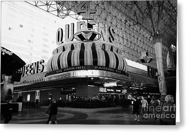 4 Queens Las Vegas Casino Hotel Freemont Street Nevada Usa Greeting Card by Joe Fox