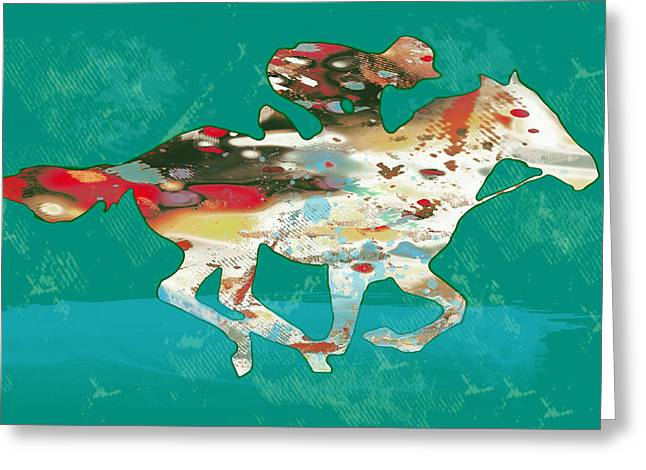 Poser Greeting Cards - Racing Horse Stylised Pop Art Drawing Potrait Poser Greeting Card by Kim Wang