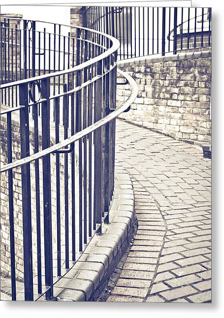 Stepping Stones Greeting Cards - Railings Greeting Card by Tom Gowanlock