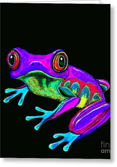 Amphibians Digital Art Greeting Cards - Rainbow Frog Greeting Card by Nick Gustafson