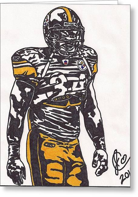Steelers Drawings Greeting Cards - Rashard Mendenhall Greeting Card by Jeremiah Colley