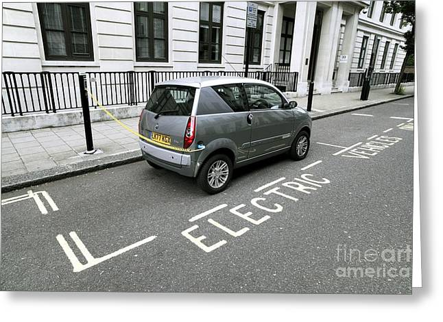 Recharge Greeting Cards - Recharging An Electric Car Greeting Card by Martin Bond