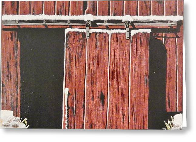 """""""sliding Doors"""" Greeting Cards - Red Barn Greeting Card by Catherine Mangis"""