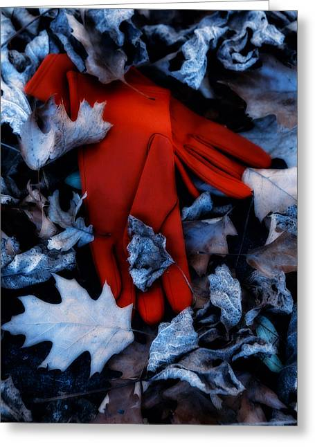 Glove Greeting Cards - Red Gloves Greeting Card by Joana Kruse