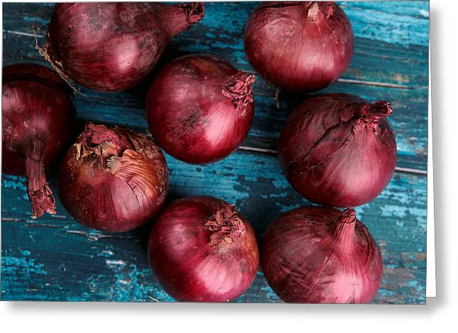 Cyan Greeting Cards - Red Onions Greeting Card by Nailia Schwarz